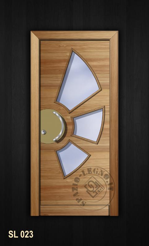 portoncino moderno in larice con vetri