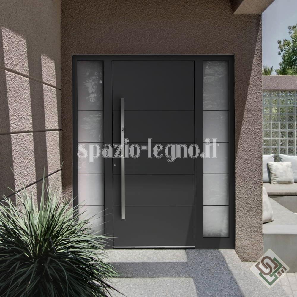 Portoni ingresso alluminio spazio legno srl for Ingresso casa moderno