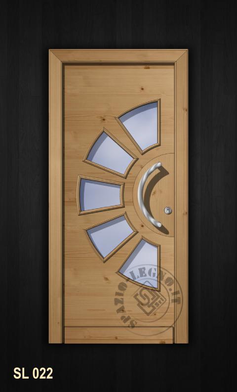 portoncino moderno in abete con vetro